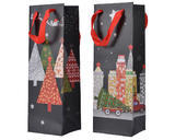 Dárková taška VILLAGE, 10x12x36cm, stromečky/ město, Kaemingk - 1/2