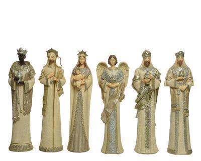 SET - figurky k betlému, cca 35cm, krémová antik, Kaemingk