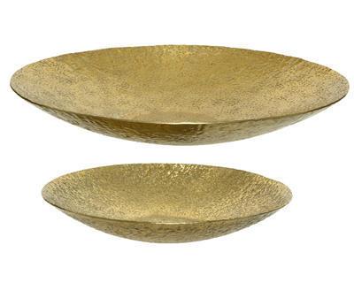 SET dekorativních mís, cca 44.5x6.5cm, cca 34.5x5.5cm, zlaté, Kaemingk