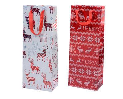 Vánoční taška dárková - XMAS SOB 8,5x14x36 cm - červená/bílá, Kaemingk