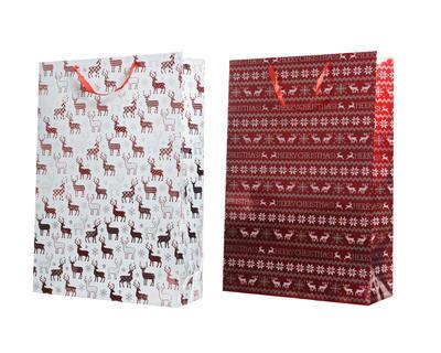 Vánoční taška dárková - XMAS SOB 18x50x72 cm - červená/bílá, Kaemingk
