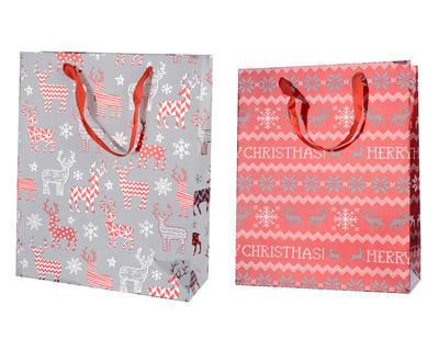Vánoční taška dárková - XMAS SOB 10x26x32 cm - šedá/červená, Kaemingk