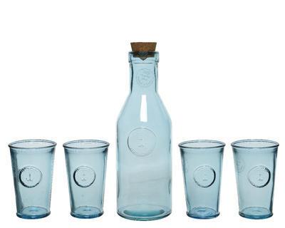 SET 5ks - karafa se sklenicemi v dárkovém balení, recyklované sklo, Kaemingk - 1