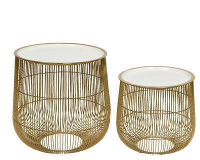 SET 2ks - přídavných stolků, zlato/bílá, Kaemingk