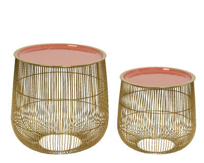SET 2ks - přídavných stolků, zlato/terakotová, Kaemingk