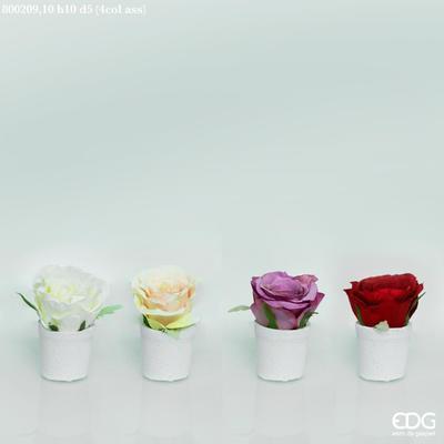 Vázička s růží COTTO ROSA 10 cm - různé, EDG