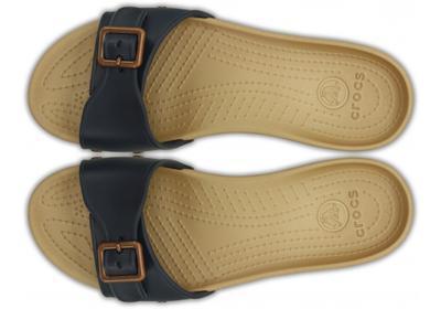 Pantofle SARAH SANDAL W9 navy/gold, Crocs - 2