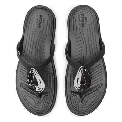 Žabky SANRAH LIQUID METALLIC FLIP W10 silver/black, Crocs - 2
