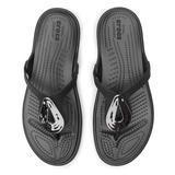 Žabky SANRAH LIQUID METALLIC FLIP W10 silver/black, Crocs - 2/7
