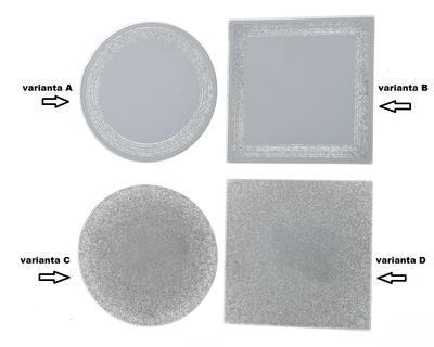 Podtácek, zrcadlo se třpytkami, 10cm, 4 druhy, Kaemingk - 2