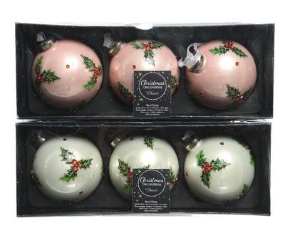 Vánoční ozdoby 3 ks - Koule HOLLY DIAMOND 8 cm - růžová/bílá, Kaemingk - 2