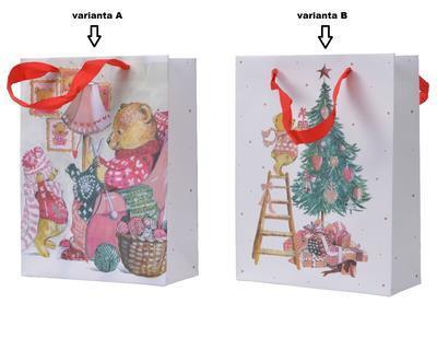 Dárková taška, 8x18x24cm, medvídek plete/ zdobení stromečku, Kaemingk - 2