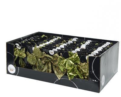 Vánoční dekorace - Mašle ORNAMENT zelená 11x15 cm - 5 druhů, Kaemingk - 2