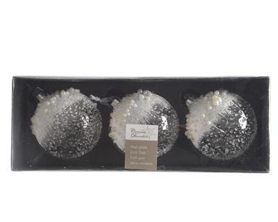 Vánoční ozdoby 3 ks - Koule ICE PEARLS  8 cm - transparentní, Kaemingk - 2