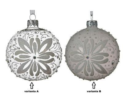 Vánoční ozdoba s květinou, 8 cm, transparentní/ šedá, Kaemingk - 2