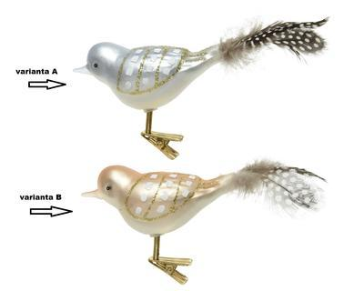 SET - ptáček na klipu, 4x10x5cm, zimní modrá/ světle hnědá, Kaemingk - 2