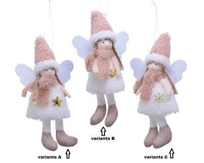 Dekorace ANDĚL, 17cm, hvězda/ srdíčko/ sněhová vločka, Kaemingk - 2