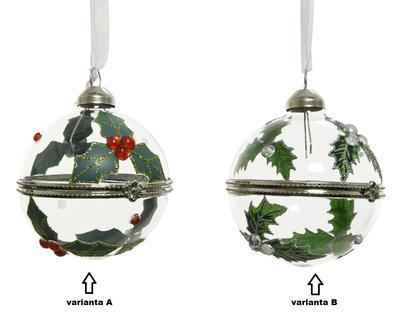 Vánoční ozdoba - otevírací, cca 6cm, červené bobule/ bílé bobule, Kaemingk - 2