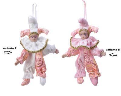 Vánoční ozdoba HARLEKÝN, 16cm, bílo, růžový/ růžový, Kaemingk - 2