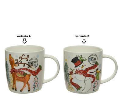Hrneček v dárkovém balení, 12x9x9cm, porcelán, sněhulák/ jelen, Kaemingk - 2