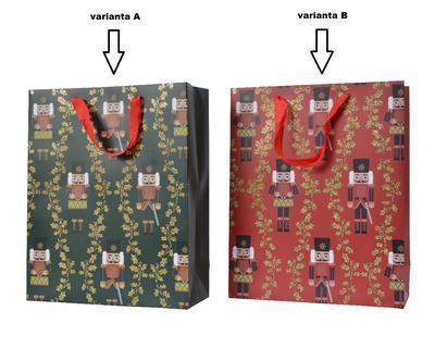 Dárková taška LOUSKÁČEK, 16x42x48cm, zelená/ červená, Kaemingk - 2