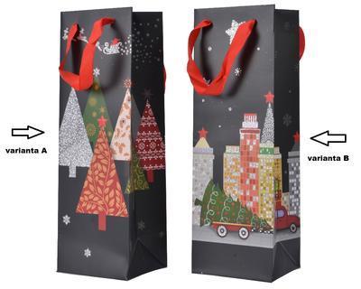 Dárková taška VILLAGE, 10x12x36cm, stromečky/ město, Kaemingk - 2