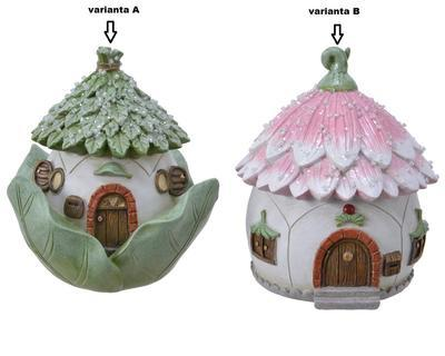 Pokladnička DOMEČEK PRO VÍLY, 13cm, zelený/ růžový, Kaemingk - 2