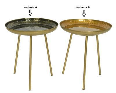 Přídavný stolek, 40x40x41cm, černá/ zlatá, Kaemingk - 2