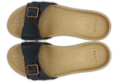 Pantofle SARAH SANDAL W11 navy/gold, Crocs - 3