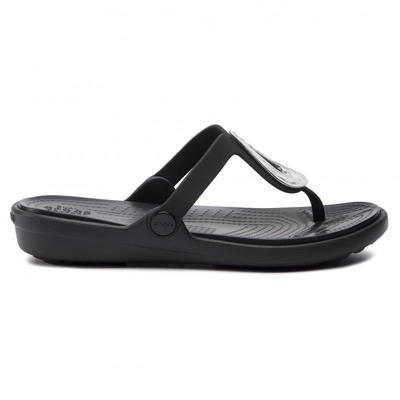 Žabky SANRAH LIQUID METALLIC FLIP W10 silver/black, Crocs - 3