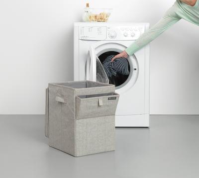 Stohovatelný koš na prádlo 35l, světle šedý melír, Brabantia      - 3