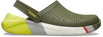 Boty LITERIDE COLORBLOCK CLOG M12 army green/white, Crocs - 3