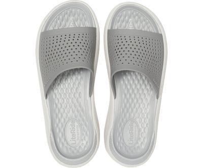 Pantofle LITERIDE SLIDE M11 smoke/pearl white, Crocs - 3