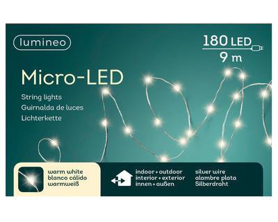 Vánoční světelný řetěz - microLED SILVER WARM 9m-180L, Kaemingk - 3