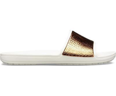Pantofle SLOANE METALTEXT SLIDE W11 bronze/oyster, Crocs - 3