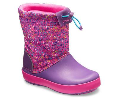 Dětské zimní boty CROCBAND LodgePoint Graphic K - Neon Magenta/Ametyst, vel. 34-35, Crocs - 3