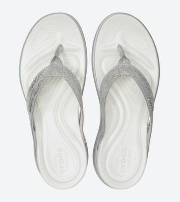 Žabky CAPRI STRAPPY FLIP W7 silver/silver, Crocs - 3