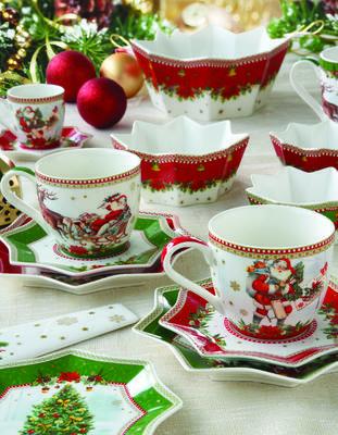 Vánoční šálek & podšálek VINTAGE SANTA GREEN 250 ml, Easy Life - 4