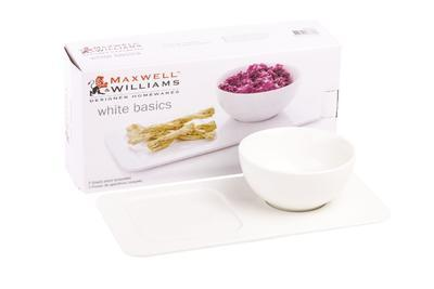 Set snack - talíř a miska WHITE BASICS 2 ks, Maxwell & Williams - 4