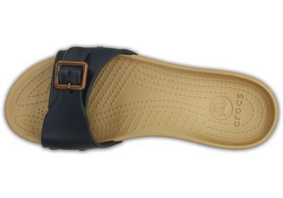 Pantofle SARAH SANDAL W11 navy/gold, Crocs - 4
