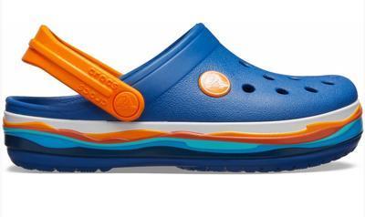 Boty CROCBAND WAVY BAND CLOG KIDS J3 blue jean, Crocs - 4