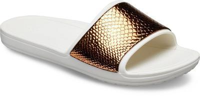 Pantofle SLOANE METALTEXT SLIDE W11 bronze/oyster, Crocs - 4