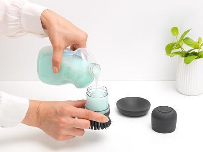 Kartáč na nádobí se zásobníkem na mycí prostředek, tmavě šedá, Brabantia   - 6