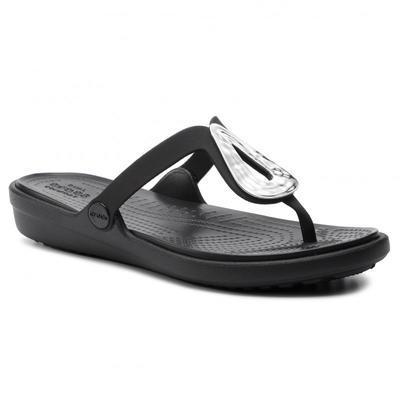 Žabky SANRAH LIQUID METALLIC FLIP W10 silver/black, Crocs - 7